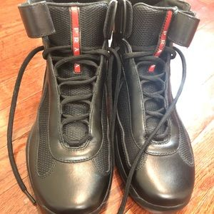 Prada American Cup Hightop Sneakers- Black